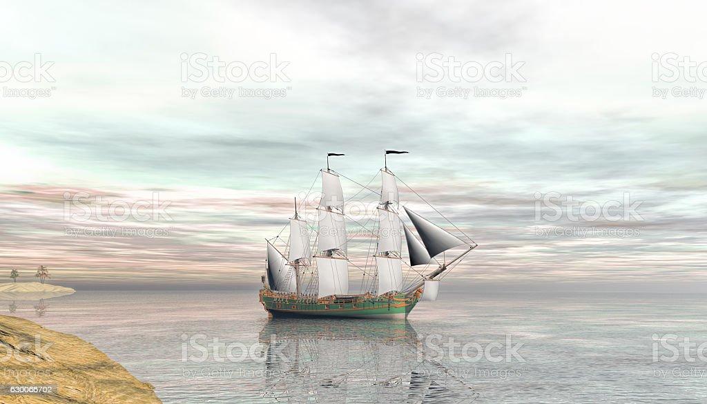 scene of Aurore a cargo slave ship stock photo