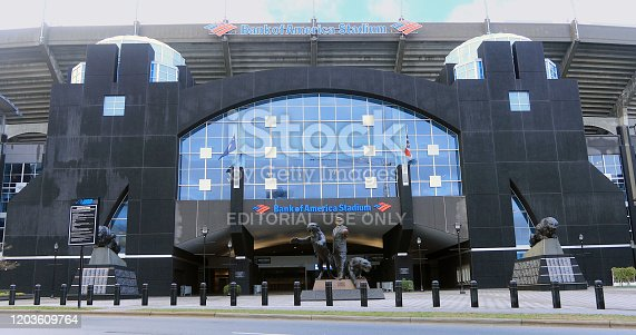 A Scene of Bank of America Stadium in Charlotte, North Carolina. Home to the Carolina Panthers, it opened on August 3, 1996
