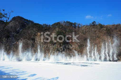istock A scene of blowing up explosion the frozen river 1091178104