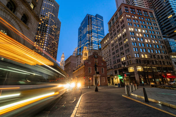 Scene of Boston Old State House buiding at twilight time in Massachusetts USA, Architecture and building with tourist concept