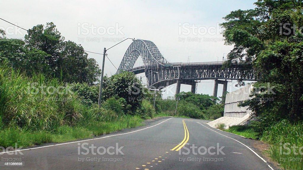 Scene Of Bridge Of The Americas In Panama.Central America stock photo