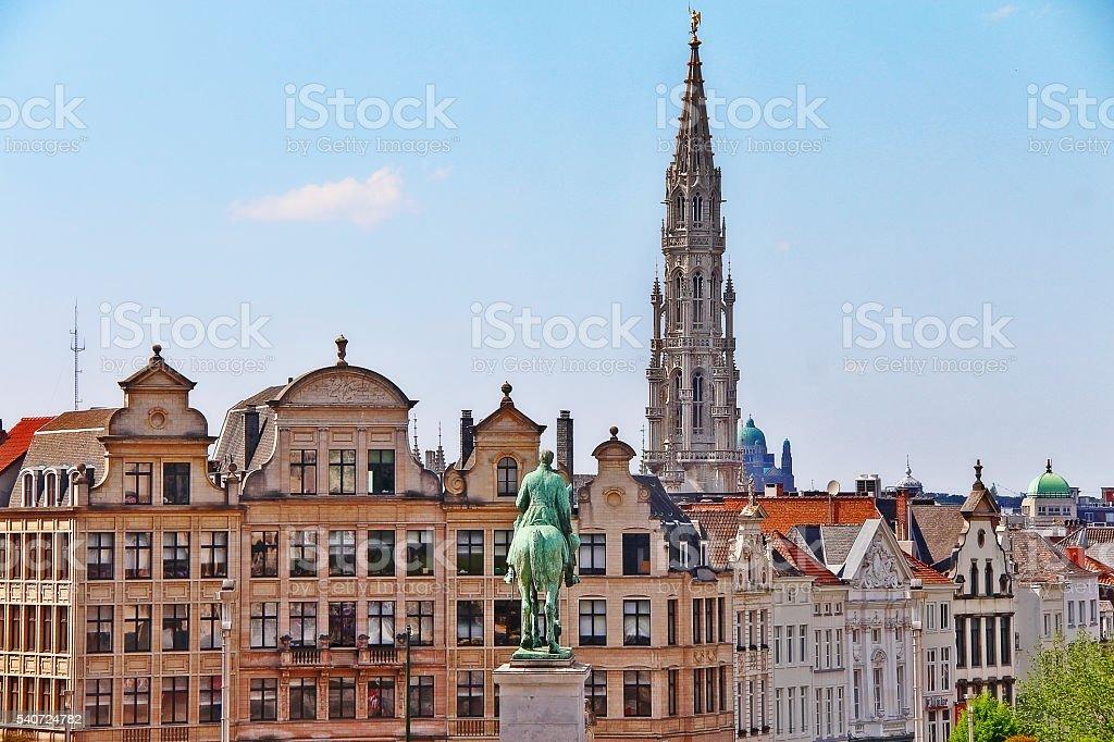 Scene of Brussels (Bruxelles) city from Kunstberg, Belgium stock photo