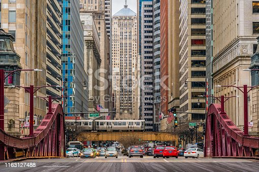 Scene of Chicago street bridge with traffic among modern buildings of Downtown Chicago at Michigan avenue in Chicago, Illinois, United States, Business and Modern Transportation concept