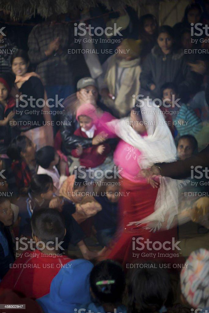 Scene of danse for hindu ceremony in Nepal royalty-free stock photo