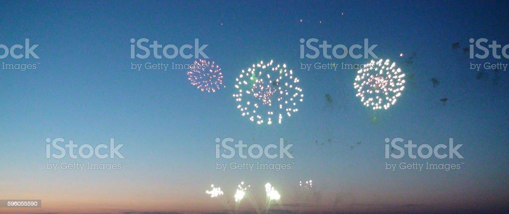 Scene Of Fireworks At Scheveningen Beach The Hague The Netherlands royalty-free stock photo
