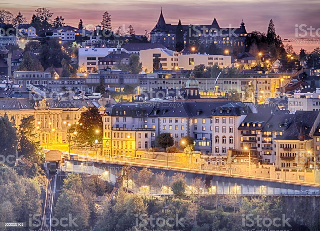 Scene of Fribourg at the hour blue stock photo
