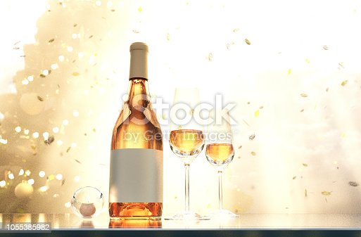 istock Scene of glasses of champagne and bottle of champagne 1055385982