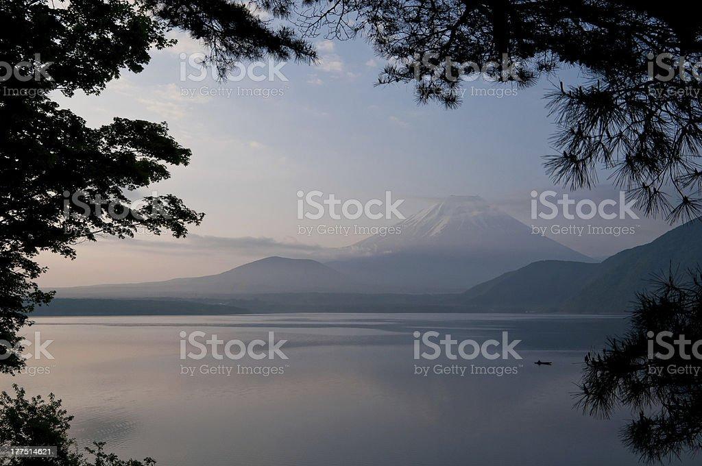 Scene of Lake Motoshu with Mt.Fuji Yamanashi Japan royalty-free stock photo