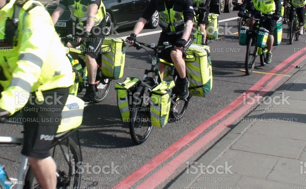 Scene Of London Ambulance Paramedics Crews On The Road With Bicycle In London.UK stock photo