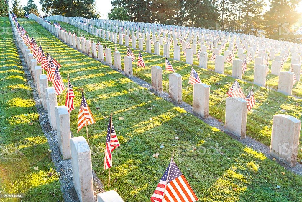 scene of military graveyard landscape stock photo