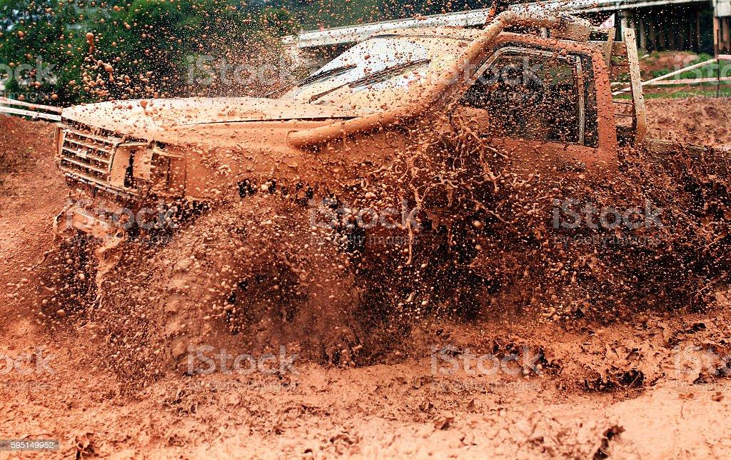 Scene of mud splash in off-road racing. stock photo