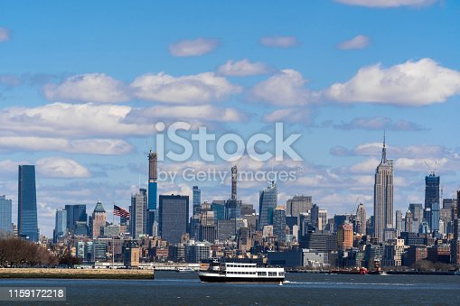 Scene of New york cityscape river side which location is lower manhattan,Architecture and building with tourist concept