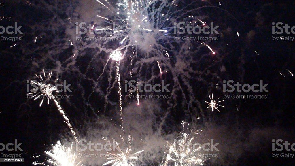 Scene Of Night Time Celebration Fireworks royalty-free stock photo
