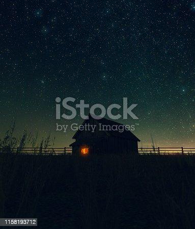 Scene of old barn at night,3d rendering
