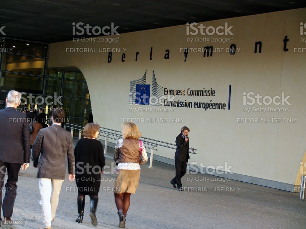 Scene Of People Walking In To European Commission Building.Brussels.Belgium.Europe stock photo