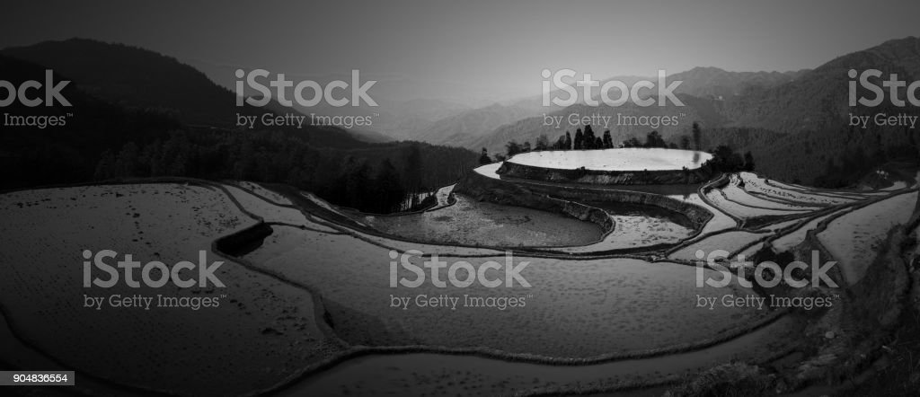 Scene of rice terraces,South East China stock photo