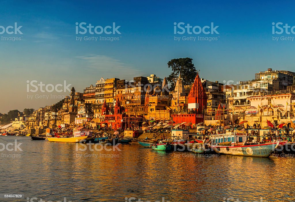 Scene of River Ganges, Varanasi, India. stock photo