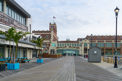 Asbury Park, NJ / United States - Oct. 11, 2020: A scene of the Asbury Park boardwalk and the iconic convention center.