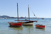 Scene of Two Traditional sailing boat on the sea. Rias Baixas Coast on summertime