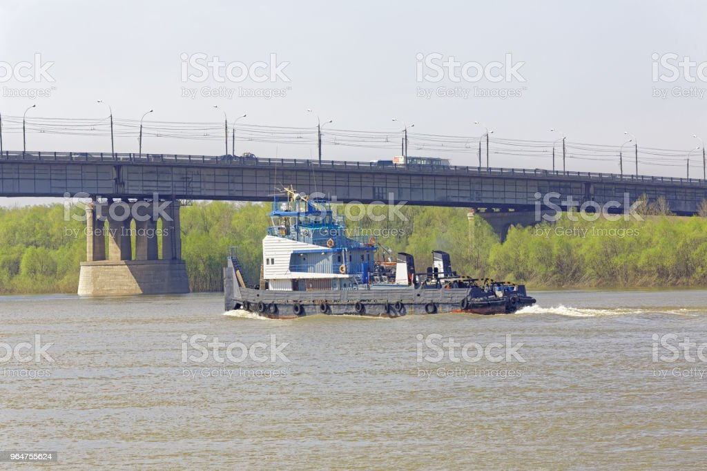 Scene of urban life in the Siberian city of Omsk royalty-free stock photo