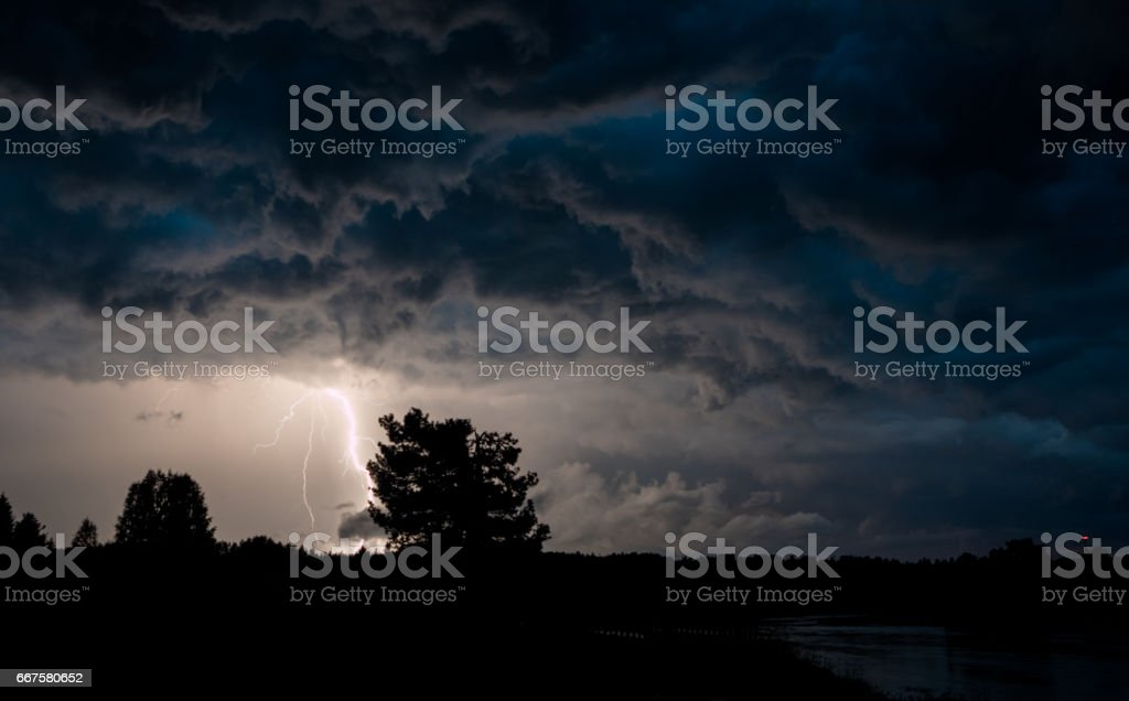 scene with hit of lightning stock photo