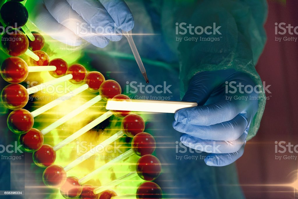 CSI scene with pipette and rapid test of DNA helix stock photo