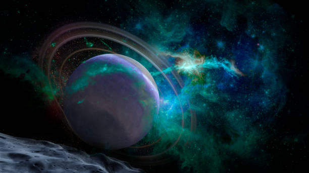Scene with planets, stars and galaxies in outer space showing the beauty of space exploration. Elements of this image furnished by NASA. stock photo