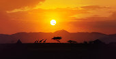 Amazing red, yellow and orange color minimalist landscape, african animals, acacia trees over the background hills, big sun setting down