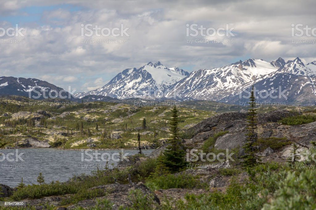 Scenery along the Klondike Highway, near Carcross, Yukon Territory, Canada stock photo