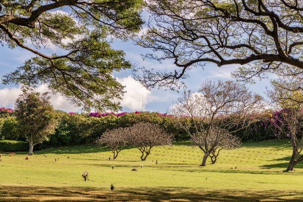 Scenery and graves at Punchbowl Monument at the National Cemetery of the Pacific. stock photo