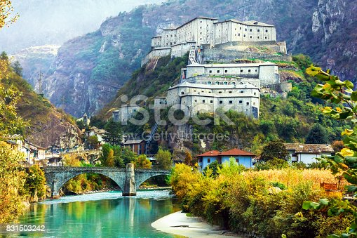 istock scenery and landmarks of Valle d'Aosta- Bard fortress, north Italy 831503242