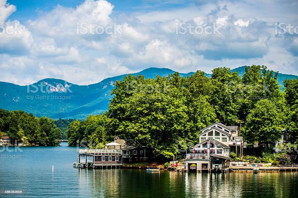 scenery around lake lure north carolina stock photo