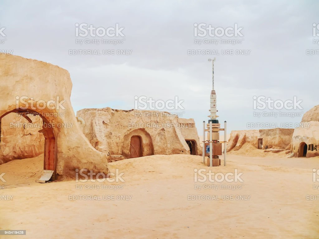 Scenery for the movie 'Star wars' near Nefta town in Tunisia. Tatooine planet industrial equipment. stock photo