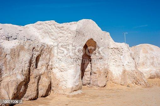 Tunisia, between the Sahara desert and the salt lake of Schott El Jerid. Scenery for the movie