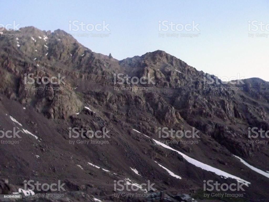 Scenery from Atlas Mountains near Toubkal stock photo