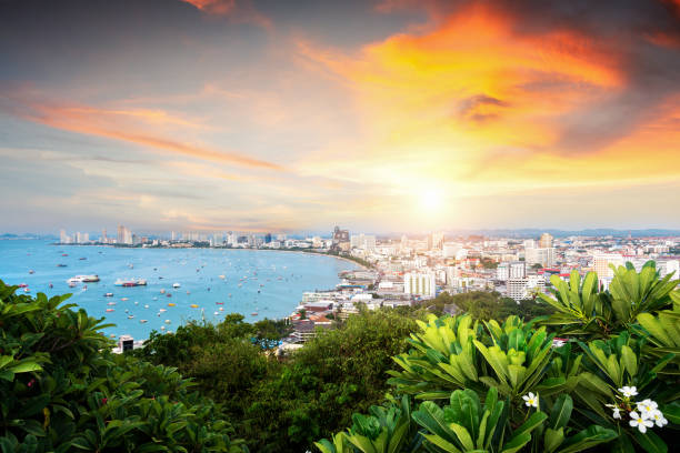 scenery from Pattaya view point with curve beach stock photo