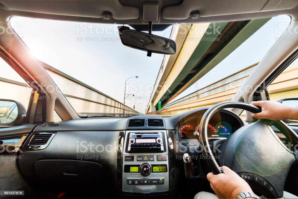 Scenery from the driver's seat stock photo