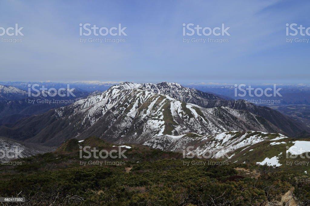 Scenery from the Sanbonyari peak in Mount Nasu ( Nasu-dake ) royalty-free stock photo