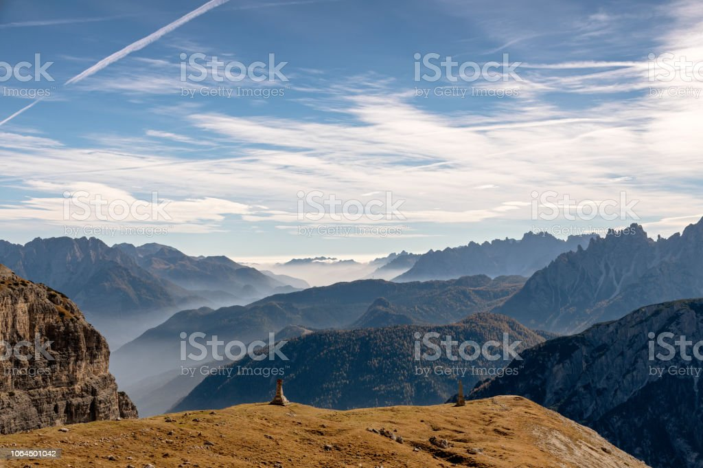 Scenery from Tre Cime stock photo