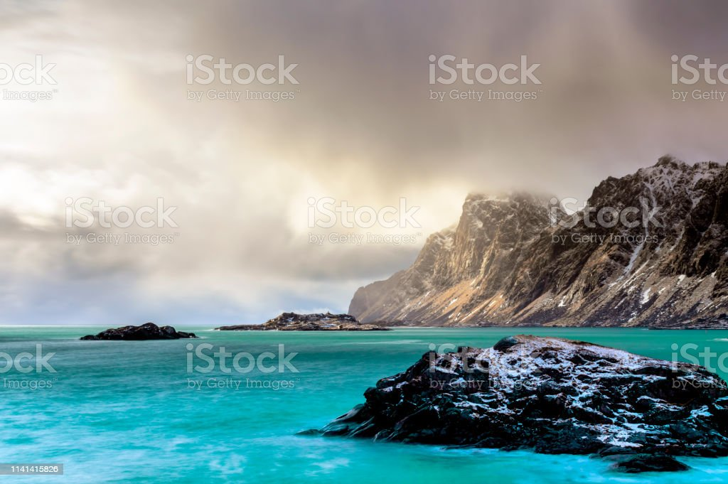 Scenery in Bjornsand Beach stock photo