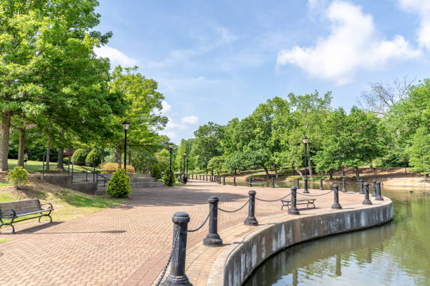 Scenery in Cleveland Park in upstate S.C. Spartanburg, S.C. / USA - May 4, 2019: The beautiful scenery in Cleveland Park, a newly rebuilt park in Spartanburg County. spartanburg stock pictures, royalty-free photos & images