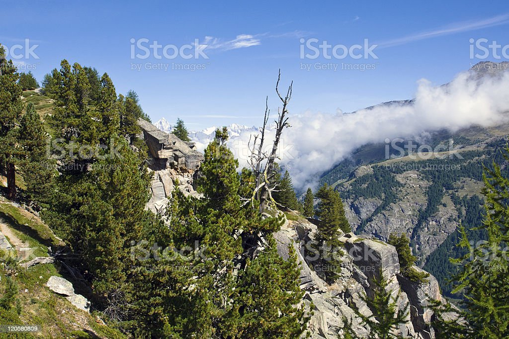 Scenery in the swiss alps stock photo