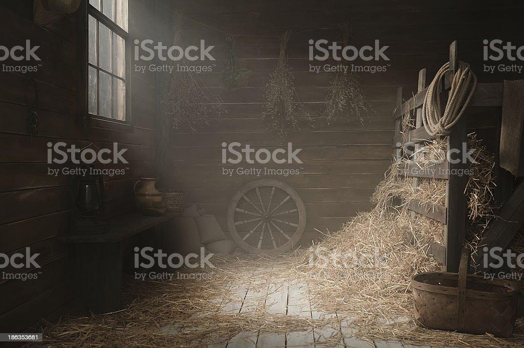 Scenery in the village barn studio stock photo