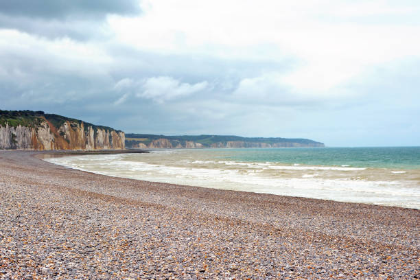 Scenery landscape view of peppel beach and cliffs in background in Dieppe in Seine Maritime department in the Normandy region of northern France Landscape photography dieppe france stock pictures, royalty-free photos & images