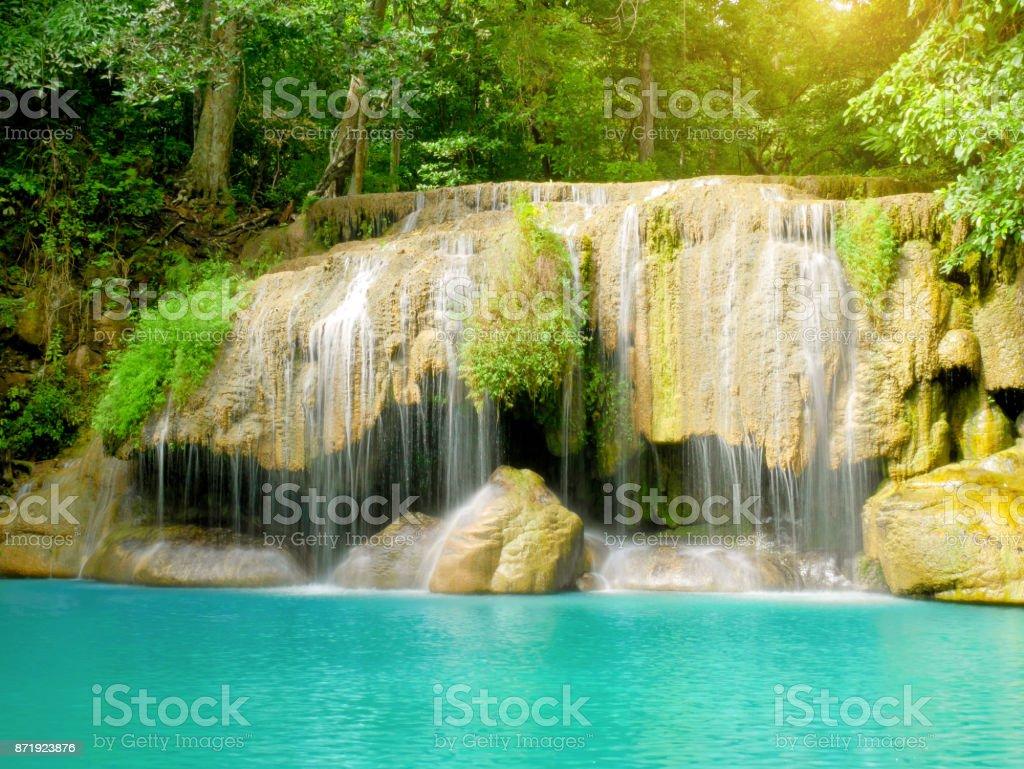 Scenery of beautiful Erawan Waterfall stock photo