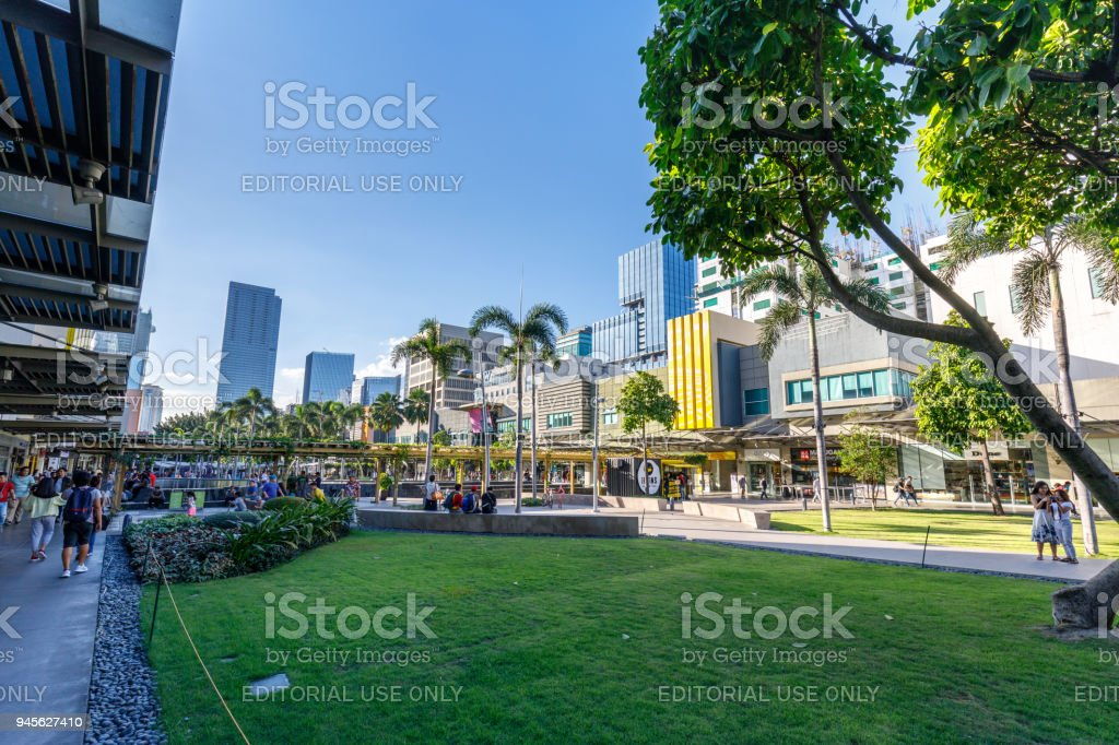 Scenery of Bonifacio High street, which is the Famous shopping street in Taguig stock photo