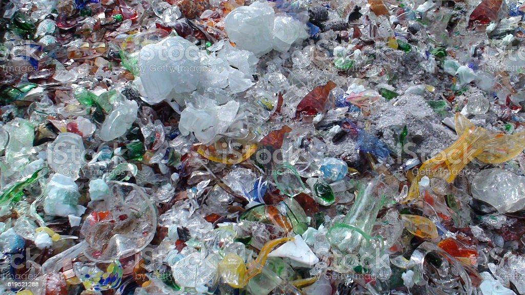 Scenery Of Broken Glasses Inside Dustbin In Murano Italy Europe stock photo