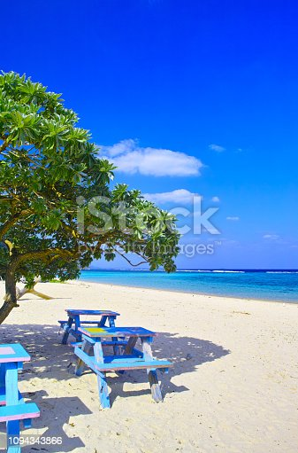 Miyakojima east coast. Scenery of entrance of Aragusuku coast. This beach is famous for snorkelling and swimming.