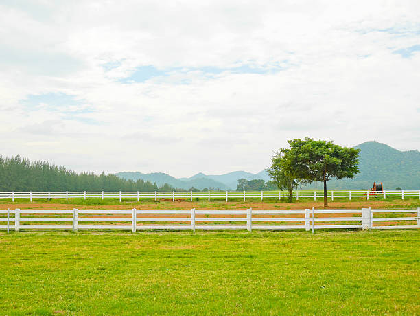 scenery of farm and mountain - fence stock photos and pictures