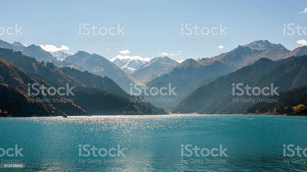 Scenery of Heaven Lake, Tianshan Tianchi National Geopark stock photo